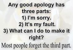 Any Good Apology Has Three Parts-I'm Sorry, It's My Fault, What Can Do to Make It Right? Most People Forget the Third Part