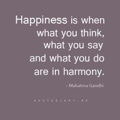 Happiness Is When What You Think, What You Say and What You Do Are in Harmony – Mahatma Gandhi