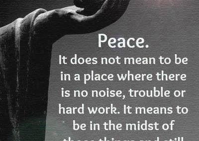 Peace, It Does Not Mean to Be in a Place Where There Is No Noise, Trouble or Hard Work – It Means to Be in the Midst of Those Things and Still Be Calm in Your Heart