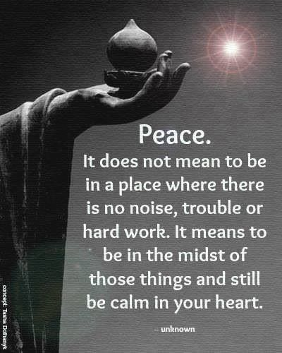 Peace, It Does Not Mean to Be in a Place Where There Is No Noise, Trouble or Hard Work - It Means to Be in the Midst of Those Things and Still Be Calm in Your Heart