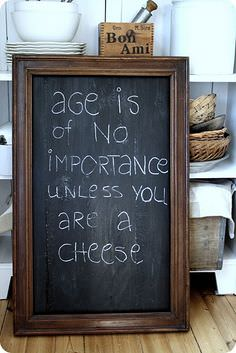 Age Is of No Importance Unless You Are a Cheese